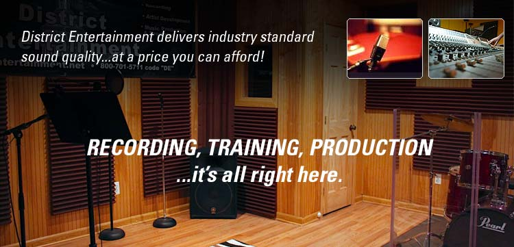 District Entertainment delivers industry standard sound quality...at a price you can afford! Recording, training, production...it's all right here!